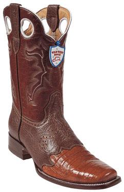 Wild West Cognac Caimen Belly Wild Rodeo Toe Boots 337