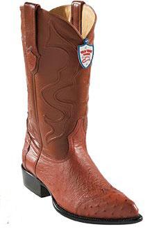 Wild West Cognac JToe Smooth Ostrich Wing Tip Cowboy Boots 297