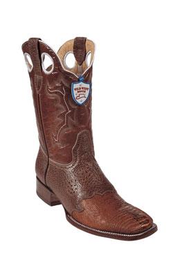 Wild West Cognac Ostrich Leg Wild Rodeo Toe Boots 277