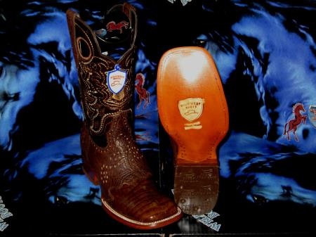 Wild West Genuine Crocodile Belly Square Brown Rodeo Western Cowboy Boot