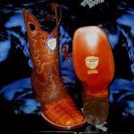Wild West Genuine Crocodile Belly Square Cognac Rodeo Western Cowboy Boot