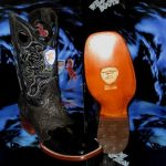 Wild West Genuine Ostrich Leg Square Black Rodeo Western Cowboy Boot