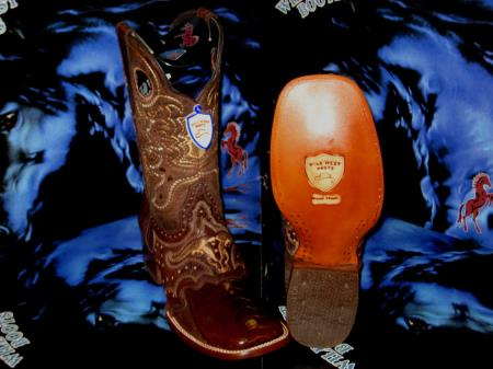 Wild West Genuine Ostrich Leg Square Brown Rodeo Western Cowboy Boot