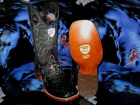 Wild West Genuine Ostrich Square Black Rodeo Western Cowboy Boot