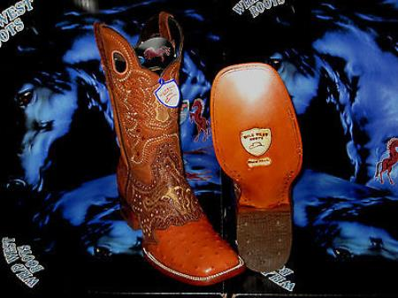 Wild West Genuine Ostrich Square Cognac Rodeo Western Cowboy Boot
