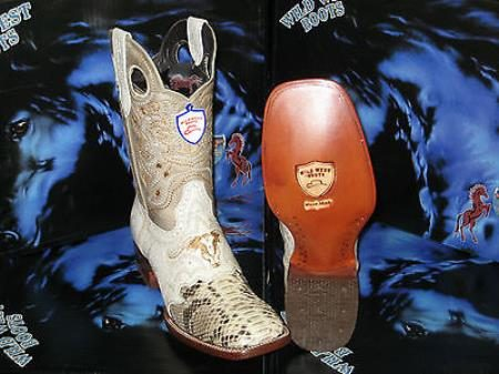 Wild West Genuine Python Snake Square Natural Rodeo Western Cowboy Boot