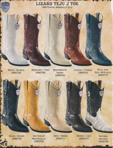 Wild West JToe Genuine Lizard Teju Mens Cowboy Western Boots Diff.Colors/Sizes