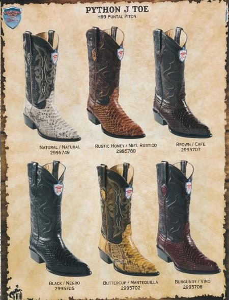 Wild West JToe Genuine Python Mens Cowboy Western Boots Diff. Colors/Sizes 196