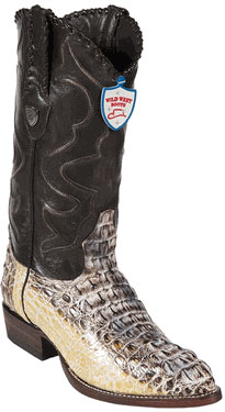 Wild West Natural JToe Caiman Hornback Cowboy Boots 457