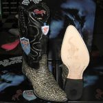 Wild West Rustic Black Genuine Crocodile Western Cowboy Boot (EE)