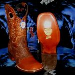Wild West Square Cognac Genuine Shark Rodeo Western Cowboy Boot