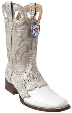 Wild West White Caimen Belly Wild Rodeo Toe Boots 337