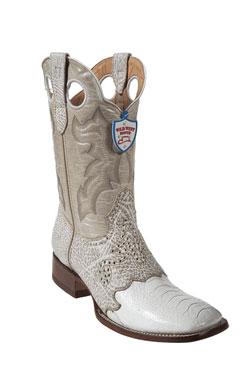Wild West White Ostrich Leg Wild Rodeo Toe Boots 277