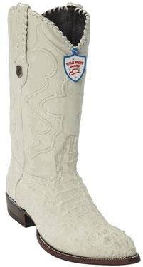 Wild West Winter White JToe Caiman Hornback Cowboy Boots 457