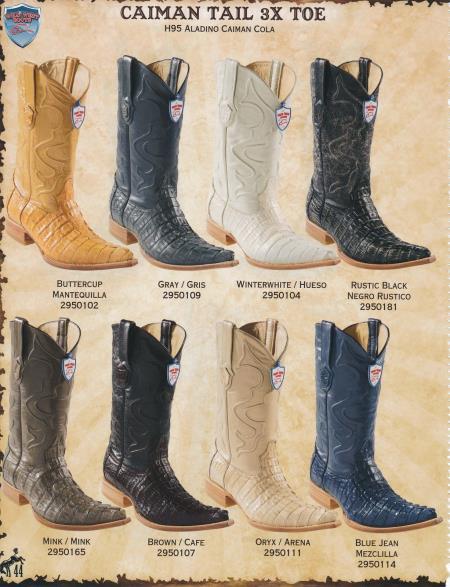 XXXToe Genuine Caiman TaMens Cowboy Western Boots Diff.Color/Size