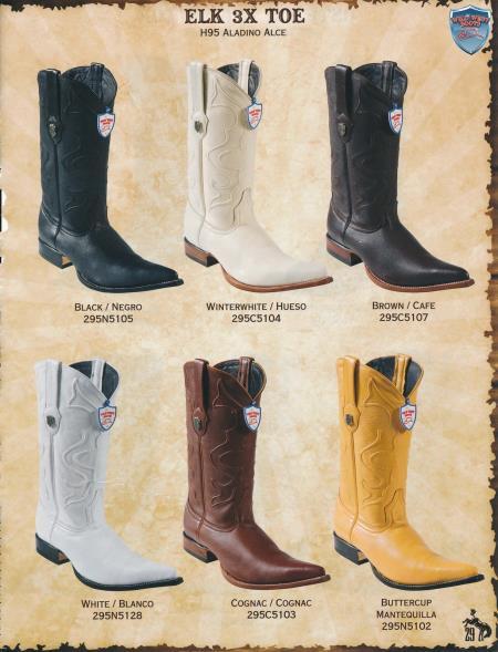 XXXToe Genuine Elk Mens Cowboy Western Boots Diff. Colors/Sizes
