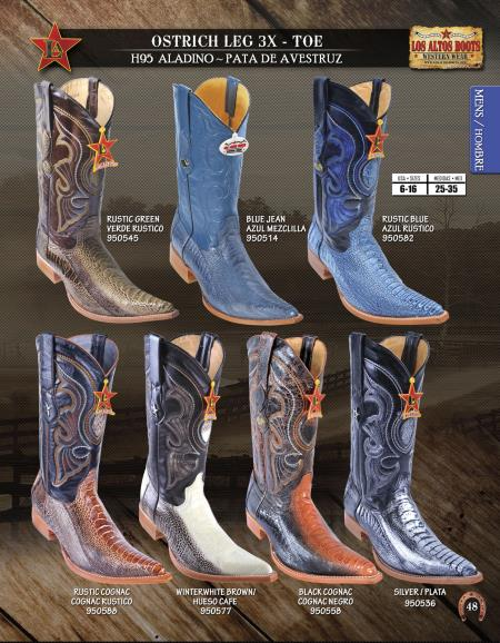 XXXToe Genuine Ostrich Leg Mens Western Cowboy Boot Diff.Colors/Sizes